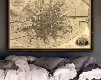 """Map of Dublin, Ireland 1797 Old Dublin map 4 sizes up to 54x36"""" (140x90 cm) Rare historical map of Dublin - Limited Edition of 100"""