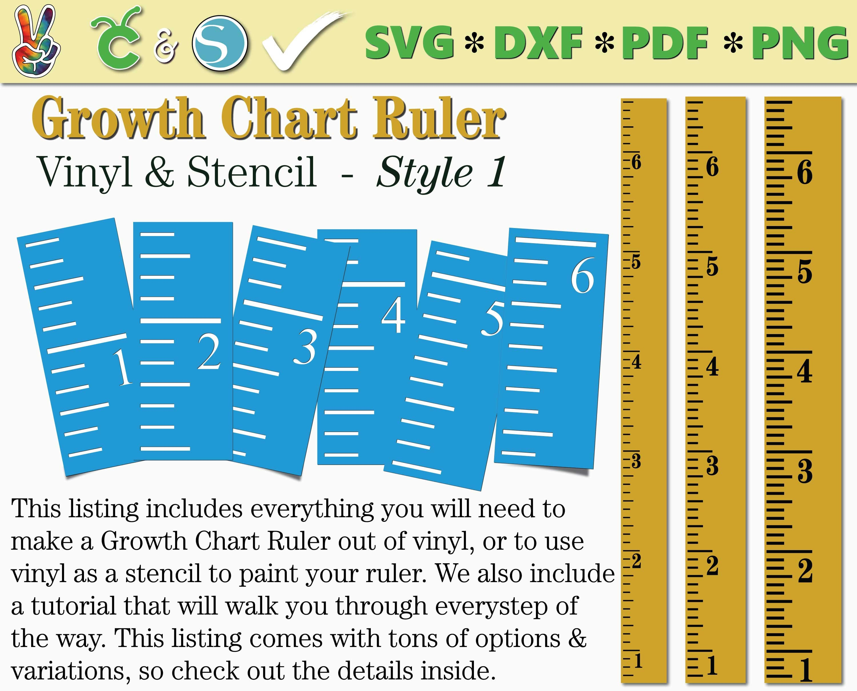 Growth Chart Ruler Stencil File Growth Chart Ruler Vinyl