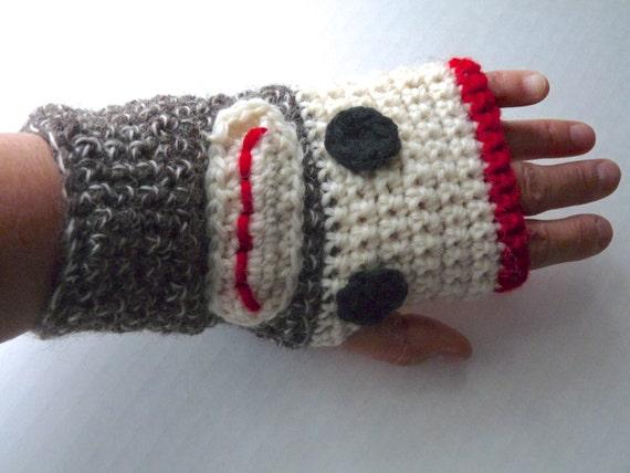 Socke Affe Handschuhe Handarbeit häkeln wollehandschuhe