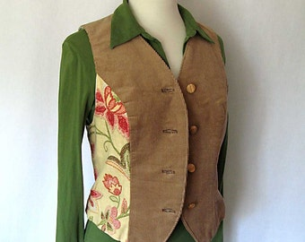 pink green floral caramel corduroy vest - size small