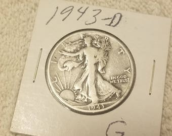 1943-D  Walking Liberty 50 cent piece Half Dollar good condition