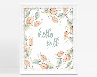 Hello Fall, Harvest Decor, Farmhouse Wreath, Farmhouse Decor, Nature Inspired, Fixer Upper Decor, Hello Fall Sign, Hello Fall Print
