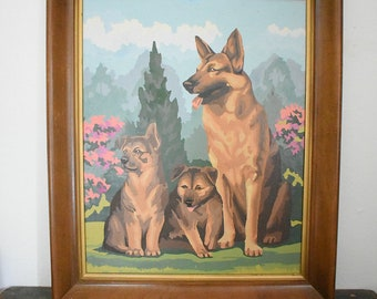 German shepherd painting - framed vintage German shepherd paint by number