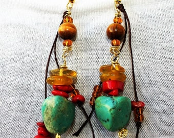 One morning in Oaxaca... ethnic turquoise earrings, coral and amber, matched to the ethnic necklace