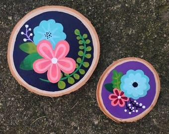 Sliced Wood Flower Painting