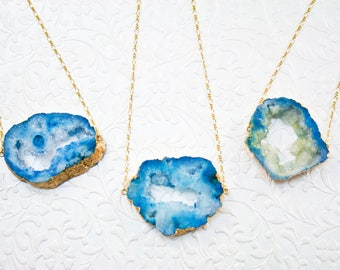 Blue Druzy Necklace, Druzy Pendant, Druzy Jewelry, 18k Gold Dipped Druzy Stone, Gifts for Her, Statement Necklace, Layering Necklace
