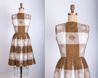 vintage 1950s day dress brown and white square print