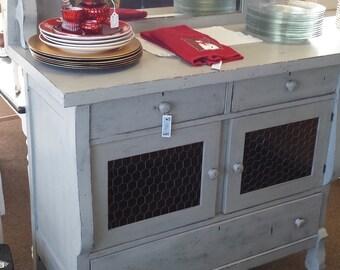 Vintage Grey Buffet U0026 Hutch Mirror   (aka Jelly Cabinet)   Sturdy  Refinished Piece Distressed Highlights