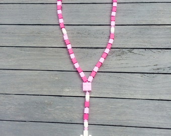 Catholic Lego Rosary Beads - Pink - Kids First Communion Gift