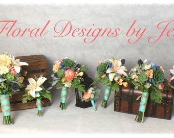 Wedding Bouquet Package, Boutonniere, Succulent Bouquet, Bridal Bouquet, Silk Bouquet, Customize your package! Prices from 15-175!