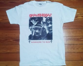 Gravediggaz Nowhere to Run Silkscreened Shirt (White)