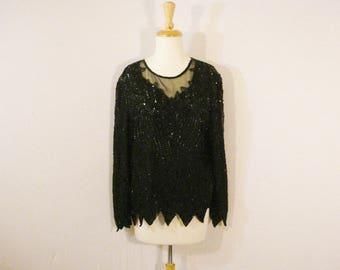 Laurence Kazar Black Silk Beaded Blouse Top Evening Wear Formal Glam Chic Elegant XL