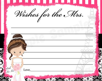 24 Personalized Bridal Shower Wishes For The MRS. - Paris Theme - Paris Bridal Shower - Parisian Shower - Paris Advice Cards - Paris Wedding