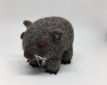 Felted Wombat/ Baby Wombat figurine, soft sculpture