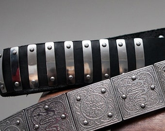 Medieval Crusader Belt with Etched Steel Accents
