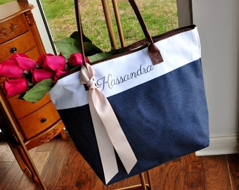 Pre-Order ONLY - Available in July: Bridesmaid Tote (Qty. 1). Personalized Bridesmaid Gift Bags. Custom Name Bag. Zipper Tote. NRT.