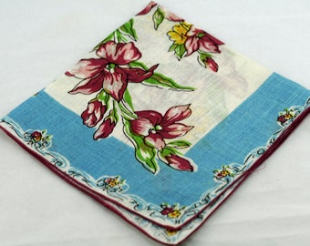 Vintage Hankie Burgundy Flowers on Blue  #C-18