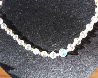 Aurora Borealis Bridal Crystal Necklace Single Strand 1950s D082