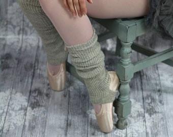 THIGH high BALLERINA  Yoga/Dancer's legwarmers - hand kranked and finished - 50cm one size fits all - natural white ALPACA