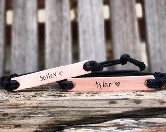 Set of 2-Hand stamped name bracelets, Best friend bracelets, BFF personalized friendship, custom hand stamped bracelet, couples gift