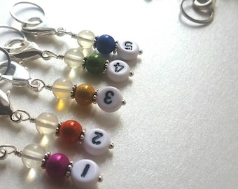 Rainbow numbered set of stitch markers . . . 1-20