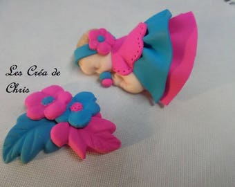 baby girl polymer clay double skirt flashy.