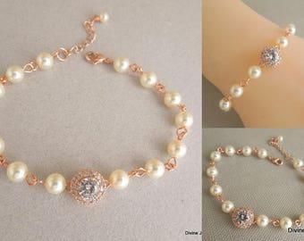 rose gold bracelet Pearl bracelet bridal bracelet wedding bracelet swarovski pearl bracelet rhinestone bracelet crystal bracelet WHITNEY