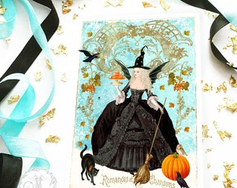 Halloween card, Halloween witch, with Marie Antoinette, pumpkin, black cat and crows, blank holiday card