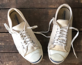 7 | Jack Purcell Converse White Canvas Sneakers Made in USA