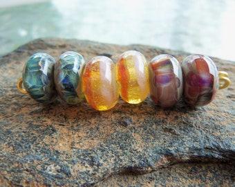 Handmade Lampwork Boro Glass Bead Set - Jewelry Supplies - Round Beads - Silverfish Designs