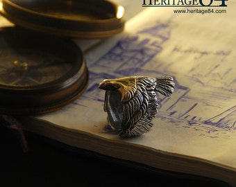 Statement ring for man / woman, golden eagle / hawk silver ring, bird's ring, knuckle long ring, index finger ring, adjustable ring for man