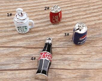 10PCS Coke Bottle Charms Jewelry Pendants Diy Jewelry Accessories for Necklace & Bracelet Making Enamel Charms