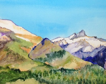 Mountain wall art, Mountain wall decor, Mountain wall art painting, mountain art framed, mountain watercolor, mountain painting,