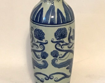 Blue & White Floral Stamped Chinoiserie Vase