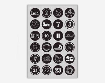 Stickers 1-24 'JOY', black // 24pcs. - 4cm