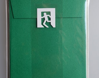 Japanese Letter Set Kirie de Fu by Midori Green with Emergency Exit Seal