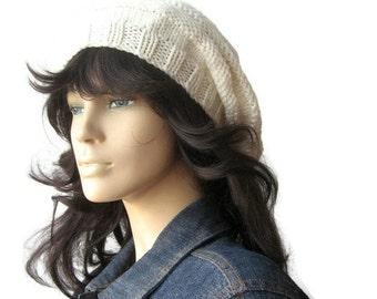 Cream Hand Knit Hat, Beehive Beret, Cream Slouchy Beanie, Womens Accessories, Fall Fashion, Knit Vegan Hat