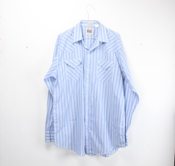 Vintage Men's Shirt - Ely Cattleman - Tall Man - Western Wear - Blue / White Striped - 1990's - Tall Fit - 16.5 -37 - Large - XL Tails