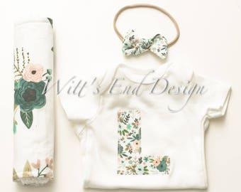 CUSTOM Baby Girl INITIAL or HEART Applique Onesie, Headband, Chenille Burp Cloths Set: Blooms-Baby Shower Gift-Newborn Photos-bouquets