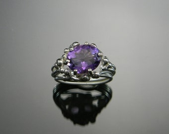 Amethyst Cocktail Ring, Amethyst Statement Ring, Large Amethyst Ring, Natural Amethyst Ring, February Birthstone Ring, Hand Fabricated Ring