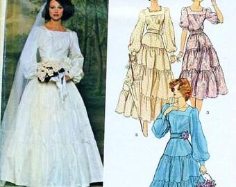 Vintage Vogue Bridal Original 2240 Misses Bridal Dress, Petticoat and Veil Sewing Pattern Size 8 Blinda Bellville