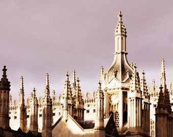 Cambridge Angleterre Print - College toits Fine Art photographie King