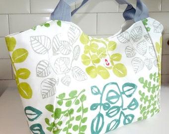 Oilcloth Bella Bag -GREEN LEAVES
