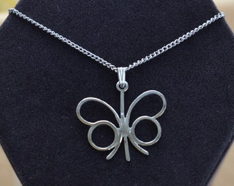 "SARAH COVENTRY Butterfly Pendant Necklace, Silver tone, 18""-20"", Vintage (AG6)"