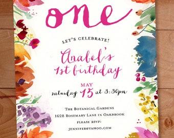 Floral First Birthday Invitation 1st Birthday Watercolor Flowers Invitation Flower Birthday Girls Birthday Party Invite Boho Garden Party