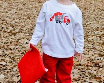 Monogrammed Dump Truck - Boys Valentine shirt - boys clothing - Toddler clothing - Long Sleeve