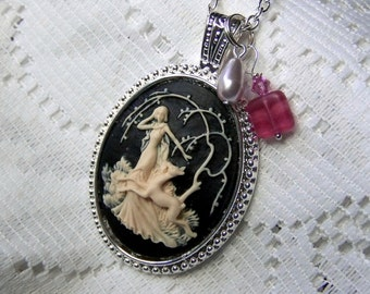 Goddess Cameo Necklace - Diana - Artemis - Huntress - Goddess of the Hunt - Forest - Woodland Wedding - Nature - Black and Ivory - charms