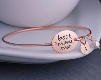 Rose Gold Mimi Bracelet, Personalized Mimi Jewelry Gift, Best Mimi Ever Bangle Bracelet, Mother's Day Gift for Mimi, Birthday Gift Mimi