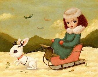 Children's Art - A Jackalope Sleigh Ride Print 7x5 / 8x6 - Girl, Rabbit, Bunny, Winter, Snow, Animal, Kids Art, Girls Decor, Cute, Whimsical