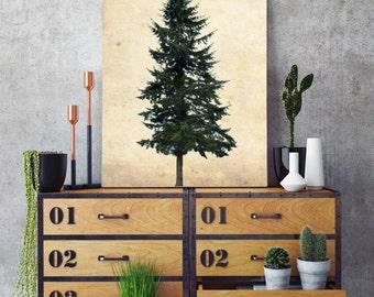 Pine Tree, Log Cabin Wall Art, Wall Decor, Office Decor, Rustic Wall Decor, Vintage Wall Art, Vintage Wall Decor, Vintage Home Decor